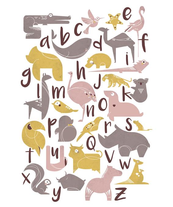 Affiche abécédaire animaux rose