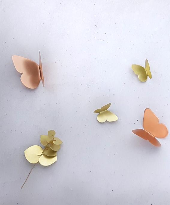 Décoration murale papillon laiton
