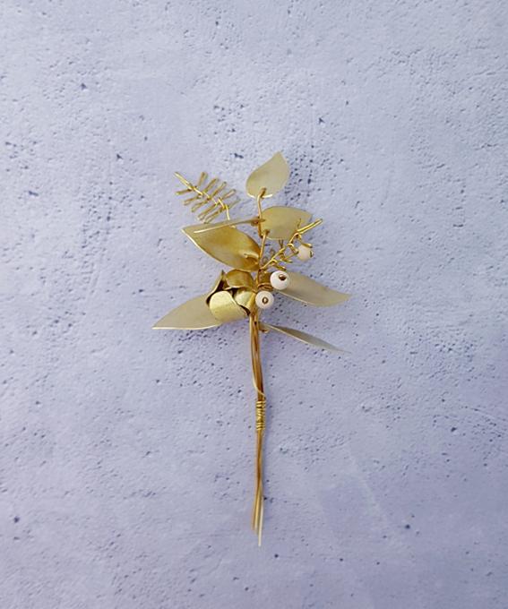 Bouquet feuillage Aurea laiton