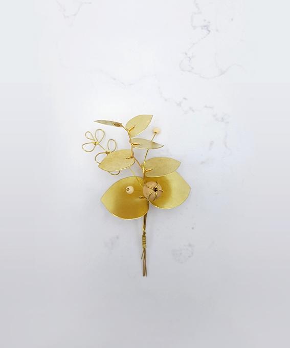 Bouquet eucalyptus laiton cuivre